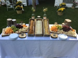 Cheese, Fruit, and Cracker wedding catering display