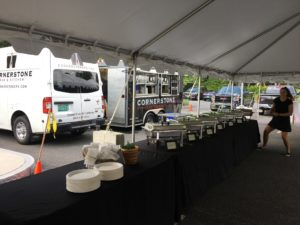 chafing dishes for sliders at Northfield Savings Bank summer party