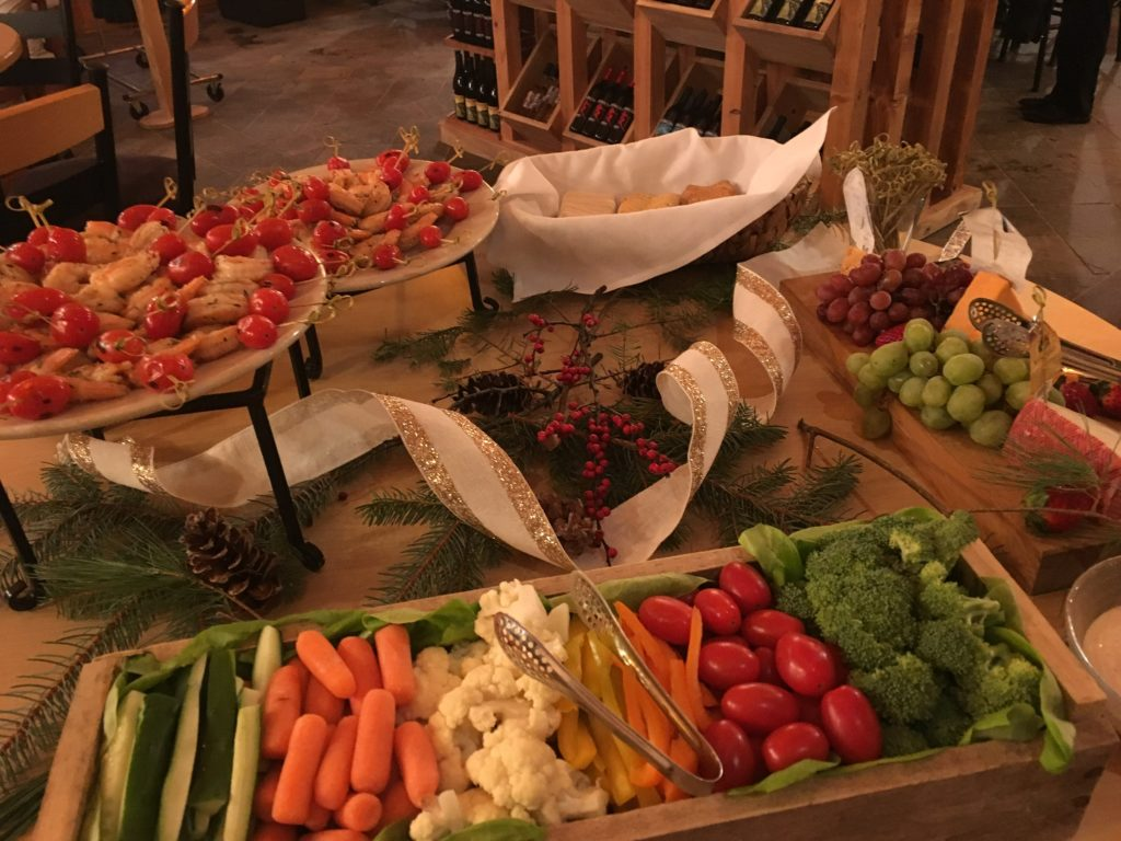 cheese, vegetable, dip display for fresh tracks winery event